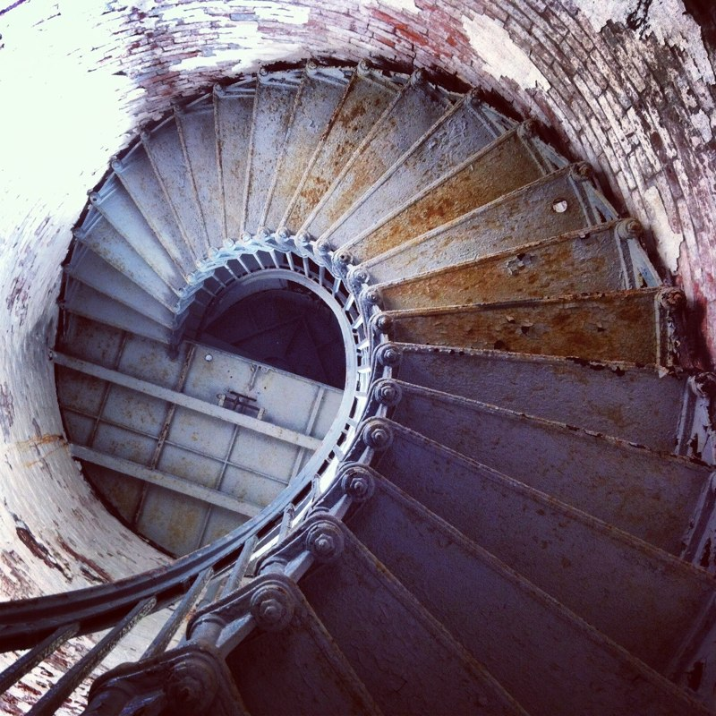 Lighthouse stairs at Moose Peak Lighthouse, Mistake Island, on the set of To Keep The Light