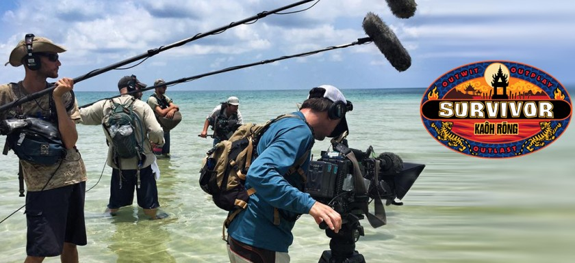 Justin Lacroix capturing sound for Survivor Kaoh Rong on the beach in Cambodia.