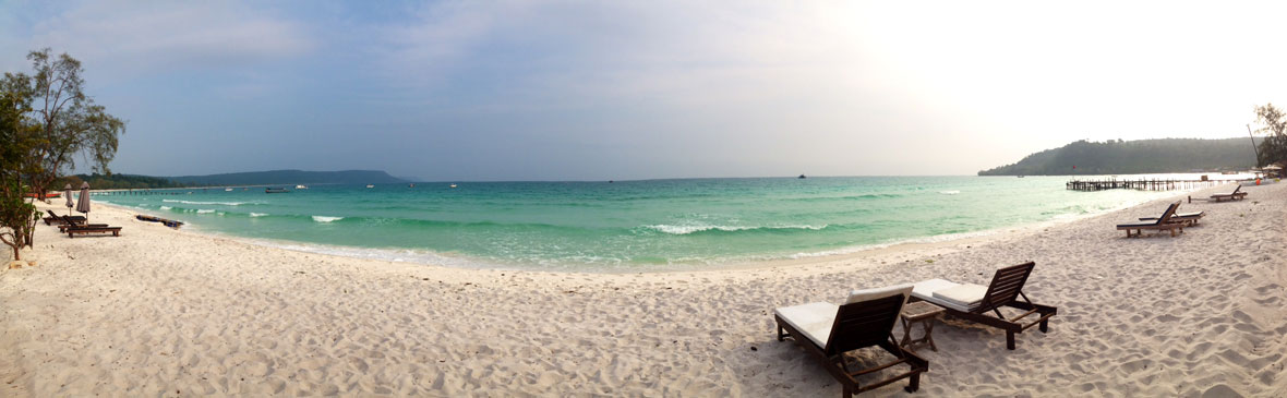 View from the crew beach on the set of Survivor Cambodia.